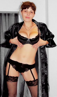 Sexual brunette in black lingerie