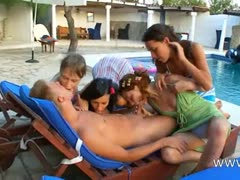 hungry gangbang with four girls and me