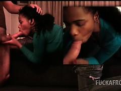 African Brunette Stunner Enjoying Interracial Sex At The