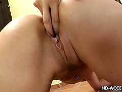 monster tit blonde cindy uses a glass dildo