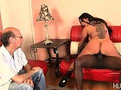 Cuckold husband watches wife fuck black guy