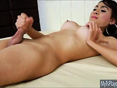 Slender Tgirl Sugar A Solo Masturbation Until She Unloads