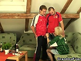 Old bitch loses a bet and spreads her legs