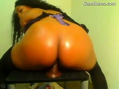 ebony-chick-riding-her-dildo