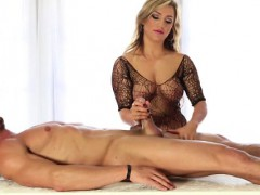 cfnm-blonde-at-tug-table-in-stockings
