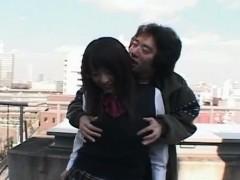 Subtitles Japanese rooftop public nudity POV blowjob