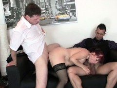 business-woman-spreds-her-old-pussy-for-two-cocks