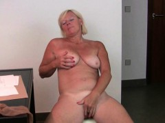 office granny in pantyhose gives her old pussy a treat granny sex movies
