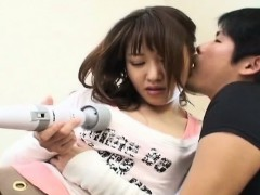 Subtitled Japanese woman teased by Magic Wand massager