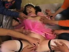 Japanese Pussy Toyed With By A Group Of Guys