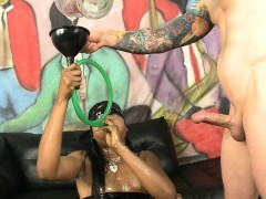 Black Ghetto Slut Spits All Over During Face Fucking