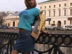 Hot Russian Jeans Miniskirt Blonde