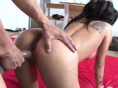 Sizzling hot Latina bombshell Mara gets splatted by a warm