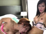 Asian ladyboys Nice and Gift in hardcore anal sex and blowjo
