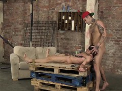 twink-bound-on-a-pallet-gets-a-blowjob-and-a-hard-clipping