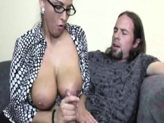 pierced-milf-tugging-cock-with-her-melons-out