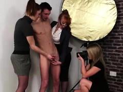 british-cfnm-babes-giving-naked-amateur-a-handjob