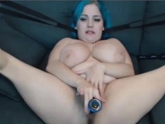 bbw-with-royal-blue-hair-funny-toying