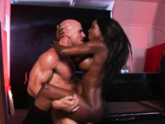 Busty Black Masseuse Jerking Before Anal