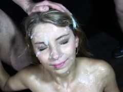 Busty Babe Gets Covered In Loads Of Sperm