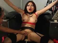 busty-brunette-getting-her-wet-pussy-machine-fucked