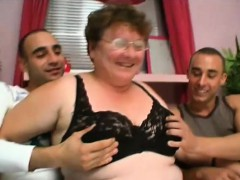 foxy granny gets hammered by two young shafts
