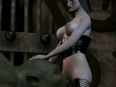 3d babe screwing an orc anally with a strap on dildo