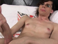 Femboy Amateur Jerks Cock While Showing Body