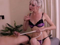 Predominant Masseuse Uses Cock and ball torture On Trussed Client
