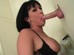big titted bitch fellating cock with lust on gloryhole