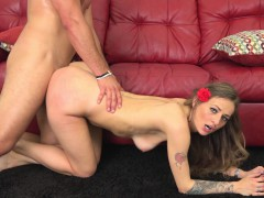 sweet slender blonde beauty getting pounded doggy style and facialized