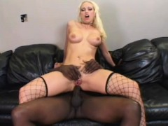 Slutty blonde takes every inch of a long black shaft up her anal hole