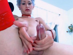 Mature Tranny Tastes Her Own Cock Juices