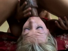trashy blonde bitch with pigtails embarks on a deepthroating adventure Blowjob