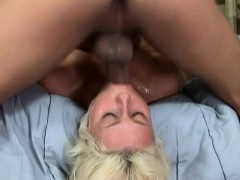 sexy slender blonde chick has a large dick deeply drilling her throat Blowjob