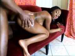 Smoking hot ebony girl moans while letting in an unyielding fuck stick
