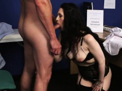 Unusual model gets cumshot on her face swallowing all the ch