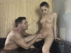 Hot Bitch Gives Bathroom Blowjob And Gets Fucked In Steamy Sauna