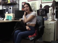 a naughty pawn man nails a sexy exotic beauty in the office