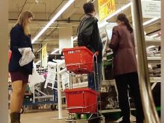 sneaky upskirt shots in the supermarket reveal kinky shopper