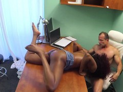 redhead-ebony-fucks-doctor-in-his-office