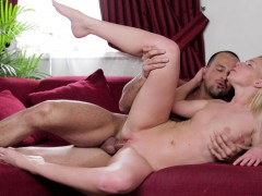 distinctive-blonde-with-a-divine-ass-fucks-a-big-dick-on-the-red-couch
