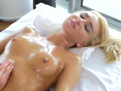 Rubbing Down Gorgeous Blonde Katrin Tequila On Table