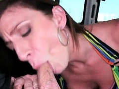 Chesty Milf Enjoys Sucking Huge Pecker
