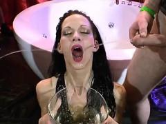 euro-slut-brunette-golden-shower-sucking-cock-riding