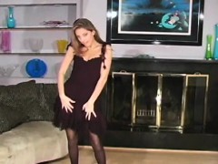 charming chick in black hose drills her muffin with a toy