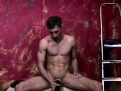 Muscled Jock Wanking Off With Fleshlight