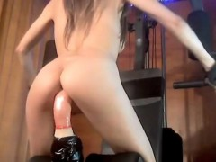 skinny-blonde-riding-dildo-while-make-fitness