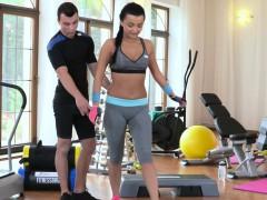Fitness Coach Fucks Brunette Nymph Online