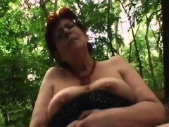 slutty redhead granny massive cock outdoor blowjob
